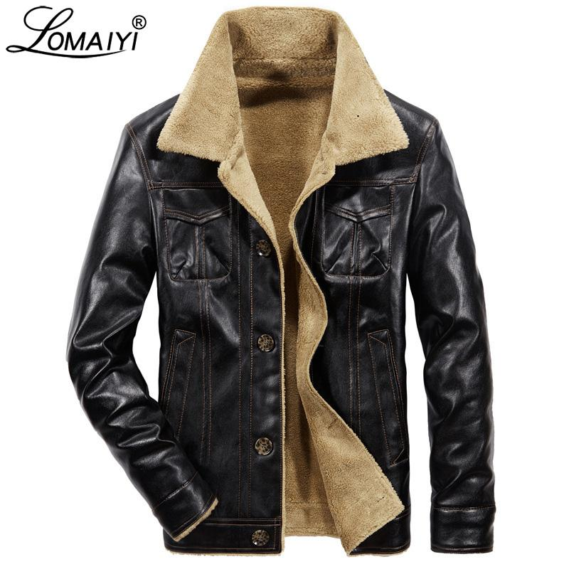 Winter Fleece Leather Jacket For Men Warm PU Biker Coat Mens Fur Clothing Men's Motorcycle Leather Jackets With Pockets BM302