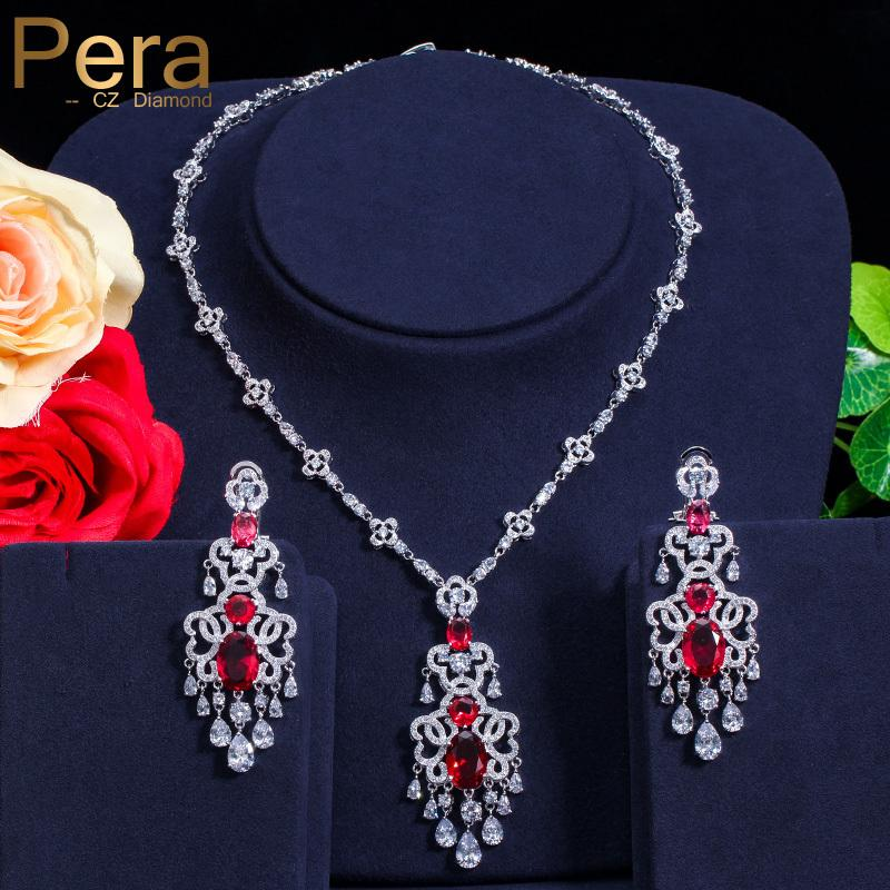 Pera Luxurious CZ Big Statement Long Dangle Dubai Women Wedding Party Gift Jewelry Sets With India Red Cubic Zirconia Stone J182 C19010301