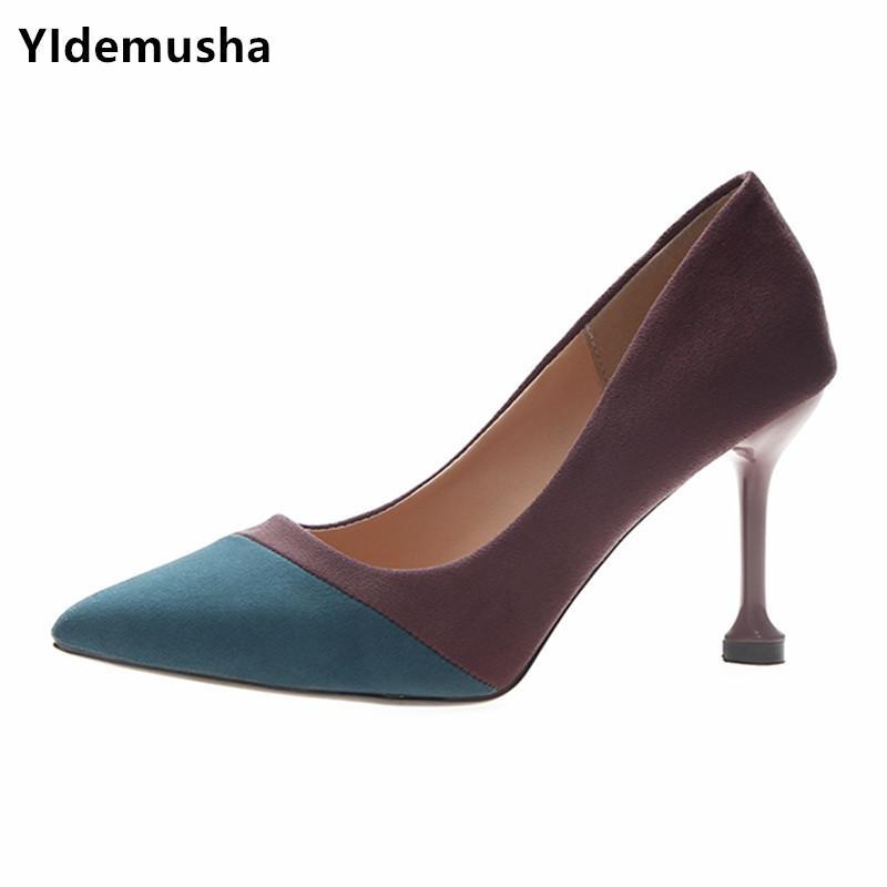 Compre Zapatos De Vestir Yidemusha 2019 Primavera Venta Caliente Mujeres  Punta Estrecha Bombas Suede Vestido Casual Pu Tacones Altos Barco Boda  Tenis ... ae3caec4dde4