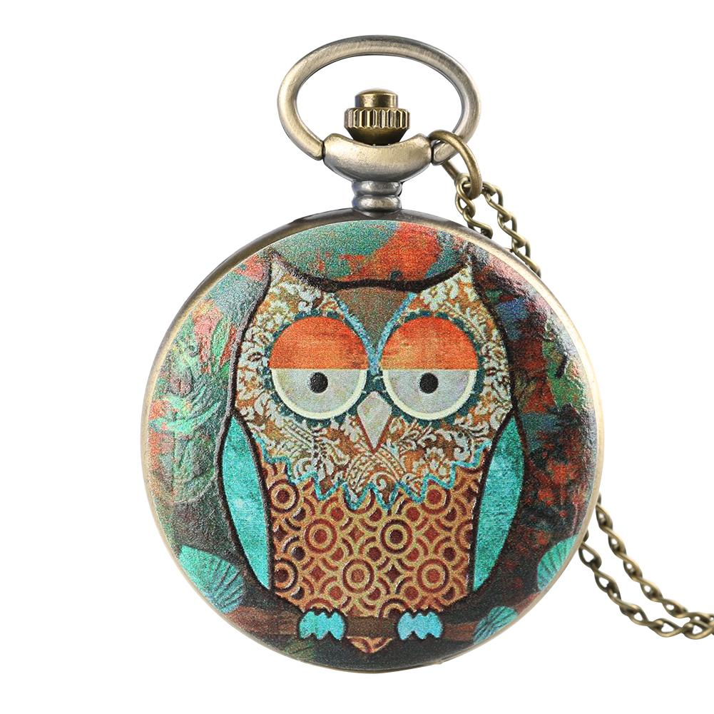 Antique Mens Pocket Watch Owl Pattern Pocket Watch for Boy Arabic Number Pendant Necklace Watches for Teenager