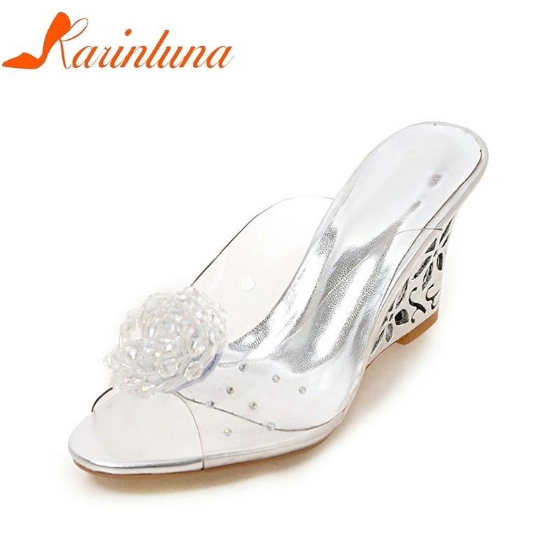 Dress Karinluna 2019 Big Size 33 43 Brand Dropship Peep Toe Cut Outs Wedge  Fretwork Heels Woman Shoes Women Fashion Lady Mules Pumps Mens Chelsea Boots  Pink ... fb47debb0c06