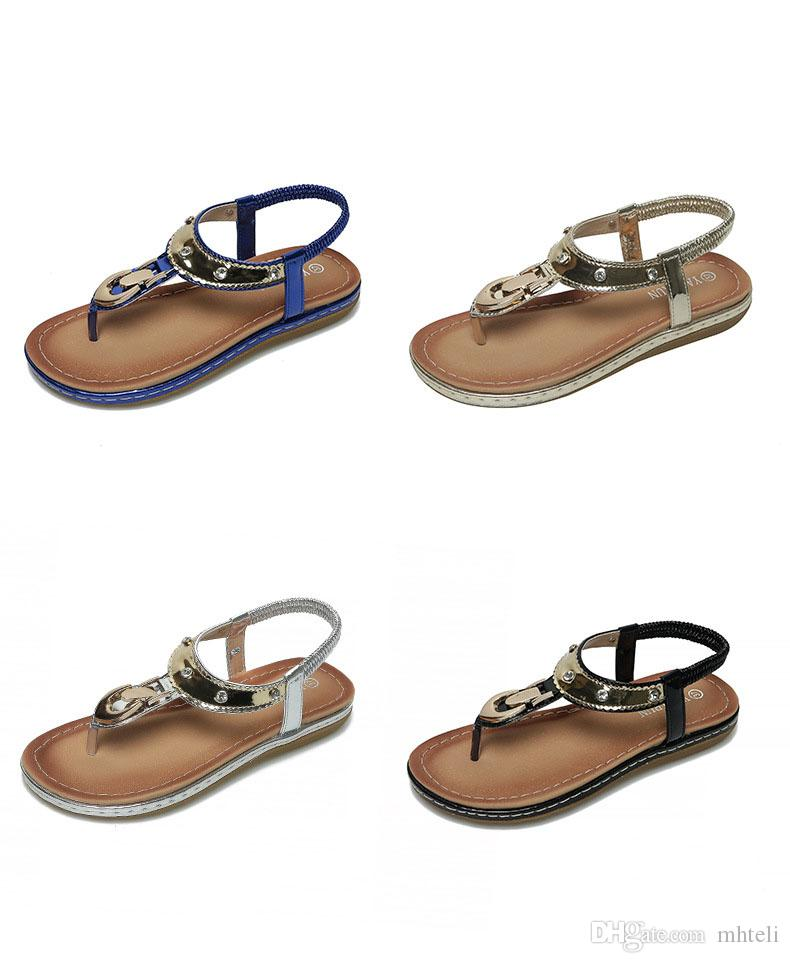3d31547b4576 2019 Sandals Female Flat With Rubber Soles New Elastic Band Women S Shoes  Simple Casual Fashion Girls Working Outdoors Wild Flip Flops Boots For Women  Black ...