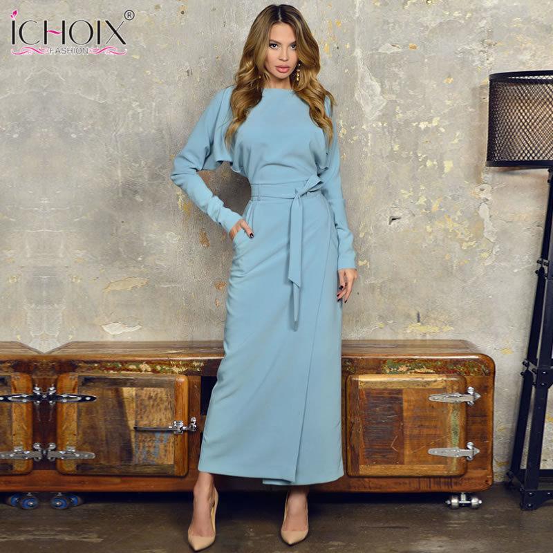 f51b606e4e6f Acquista 2018 Autunno Lungo Abito Da Sera Donne Inverno Blu Donne Ufficio  Vestito Stile Split Elegante Da Sera Femminile Aderente Maxi Avvolgere Abiti  ...