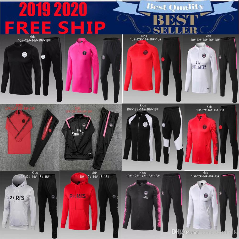 newest 2bf96 495b1 PSG NEY MAR JR kids kits soccer Tracksuit 2018-2019 jacket jogging chandal  MARTIAL KANTE RONALDO MBAPPE GRIEZMANN Football Training suit