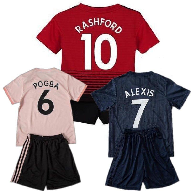 big sale 6a209 1ba22 #6 POGBA #10 RASHFORD Kids Kit 18/19 ALEXIS MATA LUKAKU Soccer Jersey Short  Top MARTIAL LINGARD FELLAINI Child Football Shirt