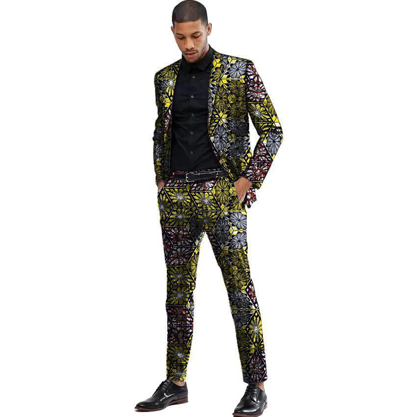 2ca2e0835e09c Compre Pop 2019 Trajes De Los Hombres Africanos Dashiki Imprimir Traje  Chaqueta Y Pantalón De Los Hombres Blazers Ropa Africana Festiva Hombre  Blazer Para ...