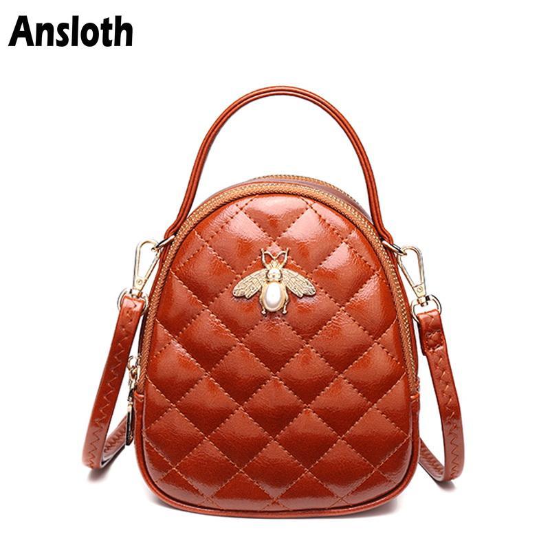 02ca74973 Ansloth Luxury Women's Mini Bags Fashion Plaid Shoulder Bag PU Leather Bags  For Women Crossbody Bag Famous Brand Handbag HPS368