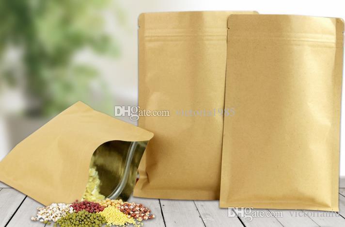 44037abbc Compre 6 * 8 Cm 100 Unids / Lote Kraft Paper Doypack Zip Lock Pouch Con  Papel De Aluminio Alimentos Té Snack Café Almacenamiento Con Cierre Ziplock  / Bolso ...