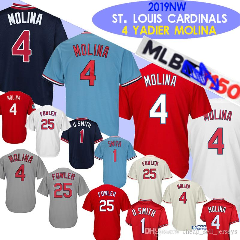 sports shoes 76931 0e494 1 Ozzie Smith jerseys 4 Yadier Molina 25 Dexter Fowler stitched Embroidery  Baseball Jerseys new 2019 150th patch