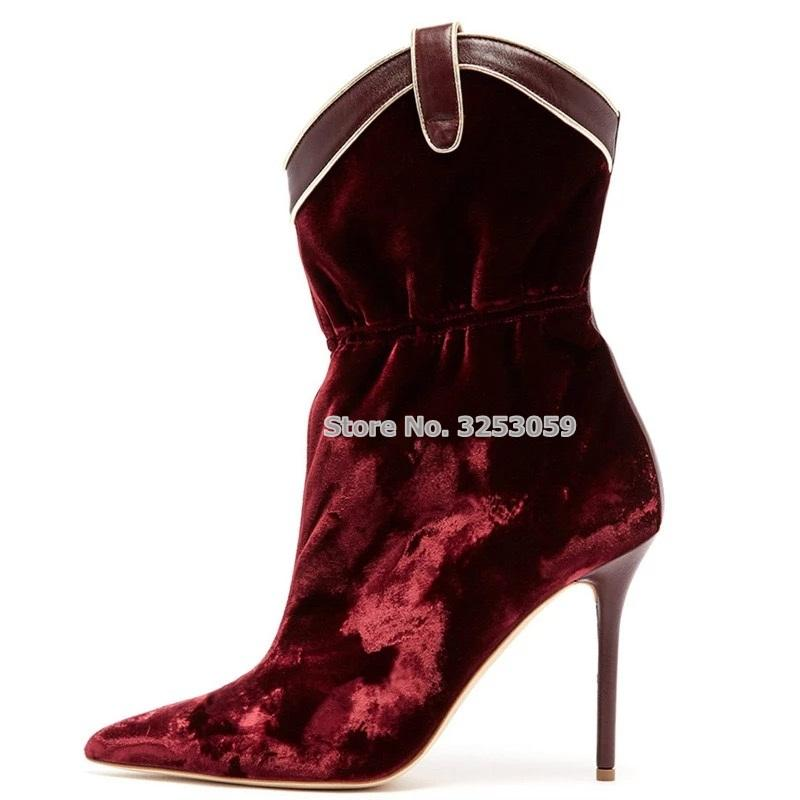 7951142d2f4d ALMUDENA New Designer Burgundy Velvet Mid Calf Boots Stiletto Heels Pointed  Toe Patchwork Dress Boots Wine Red Middle Wedges Shoes Designer Shoes From  ...