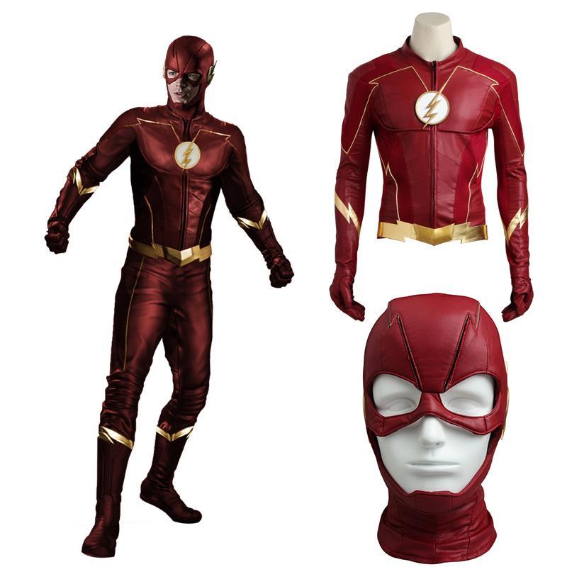 6fe4930e769 Compre Ostumes Accesorios Cosplay Disfraces The Flash Season 4 Cosplay  Barry Allen Disfraz Dc Comics Chaqueta Superhéroe Halloween Máscara Hombres  Adultos .