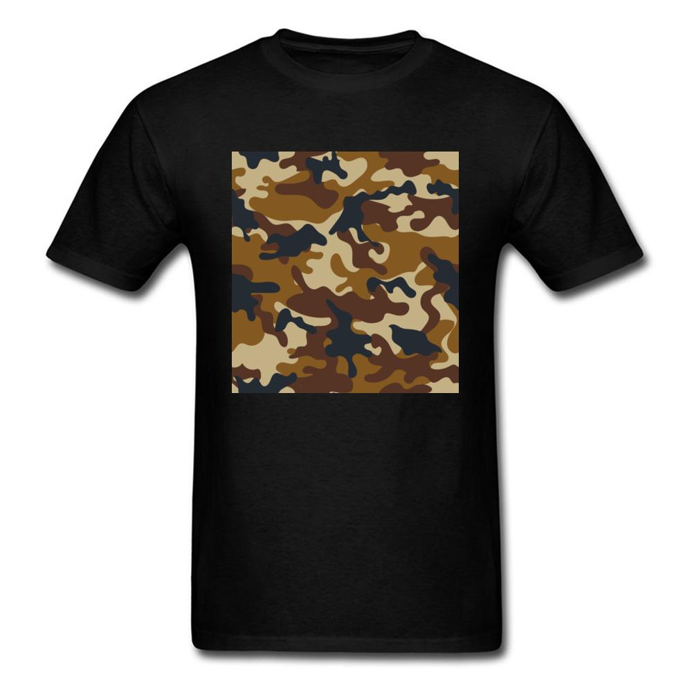 Manly Brown Army Camouflage Pattern Design Hombres Camisetas Hombre Adulto Algodón Transpirable Camiseta negra Manga corta