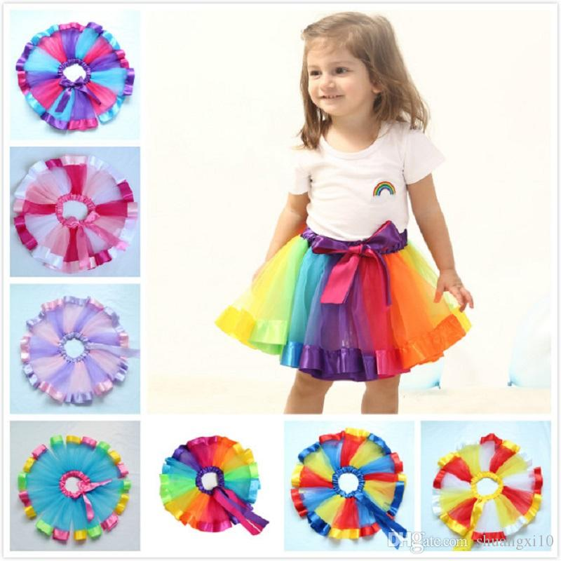 2018 Children Rainbow color Tutu Dresses New Kids Newborn Lace Princess Skirt Pettiskirt Ruffle Ballet Dancewear Skirt Holloween Clothing