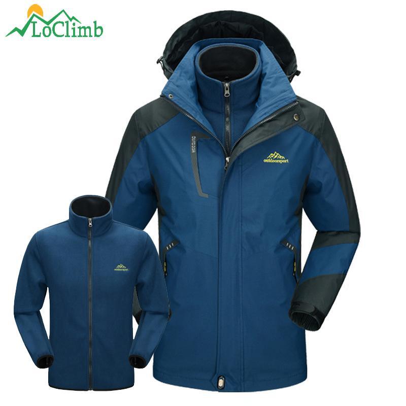 228a39badf LoClimb 3 In 1 Outdoor Ski Hiking Jackets Men Winter Waterproof Windbreaker  Camping Trekking Climbing Sports Fleece Coat