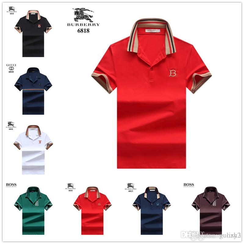 931eeeb6 New 2018 summer men's striped crocodile embroidered Polo shirt short sleeve  cool cotton slimming casual business men's shirt luxurys brands