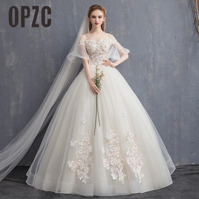 Real Pictures Boat Neck Ball Gown Bridal Dress Stereoscopic Flower