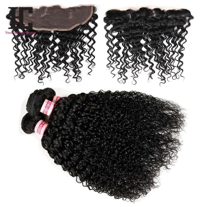 13x4 Kinky Curly Lace Frontal With Bundles 7A Peruvian Kinky Curly With Lace Frontal Closure Human Hair With Lace Frontal