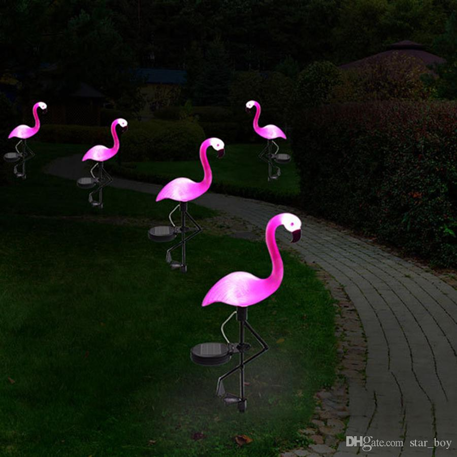 Flamingo Lawn Lamp Decoración de jardín Luces solares Patio solar Pink Flamingo Lights Estaca decorativa para exteriores - Solar Pink Flamingo Yard Adornos