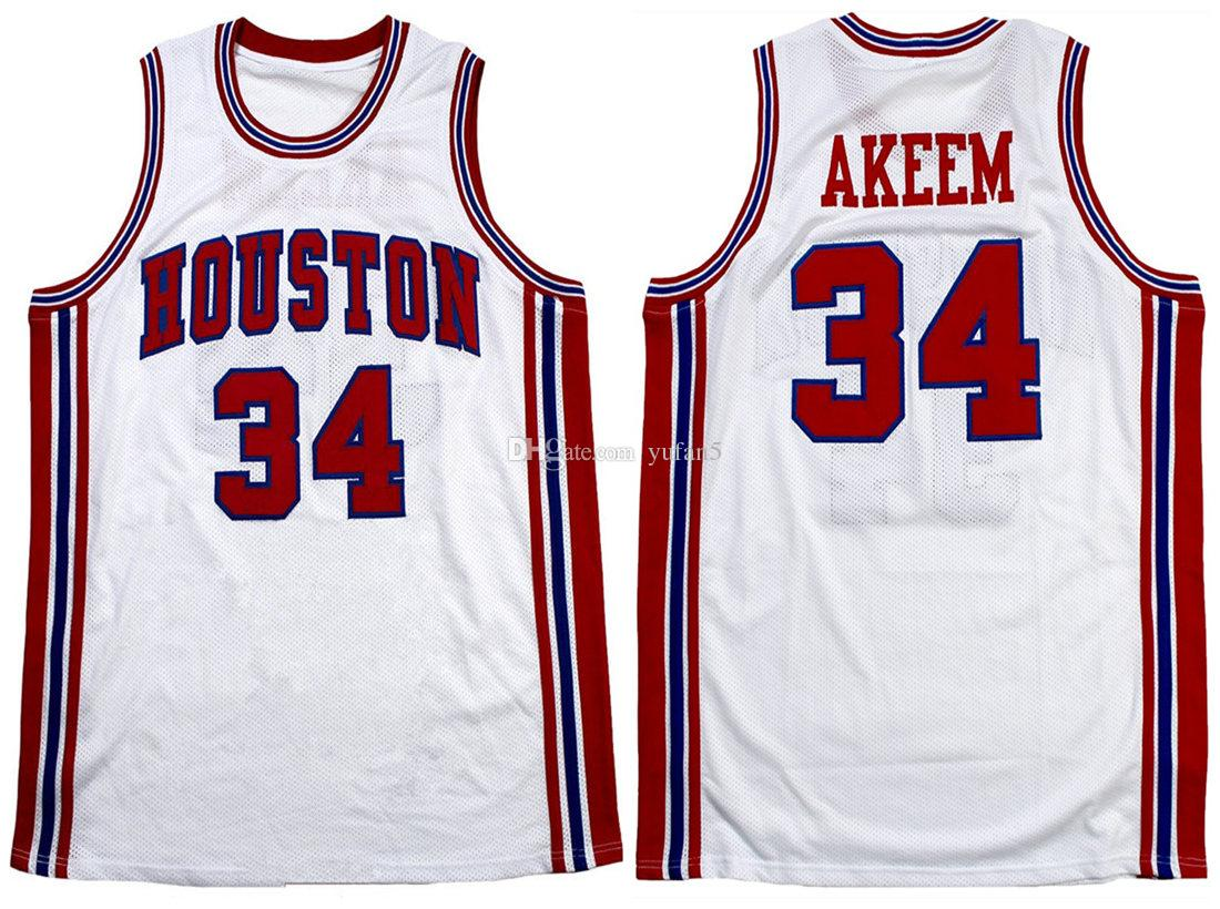wholesale dealer 6e169 f257a #34 Akeem Olajuwon Houston Cougars College Retro Classic Basketball Jersey  Mens Stitched Custom Number and name Jerseys