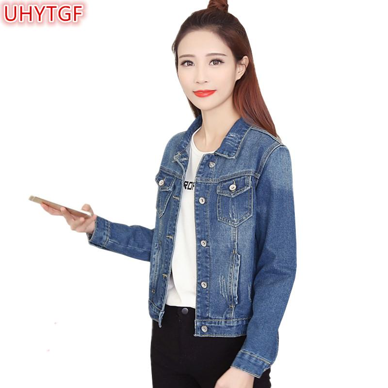74b9842798a UHYTGF Long Sleeve Short Denim Jacket Womens Spring Autumn Coats Plus Size  4XL Slim Single Breasted Female Denim Jackets Tops 71 Rain Jackets  Waterproof ...