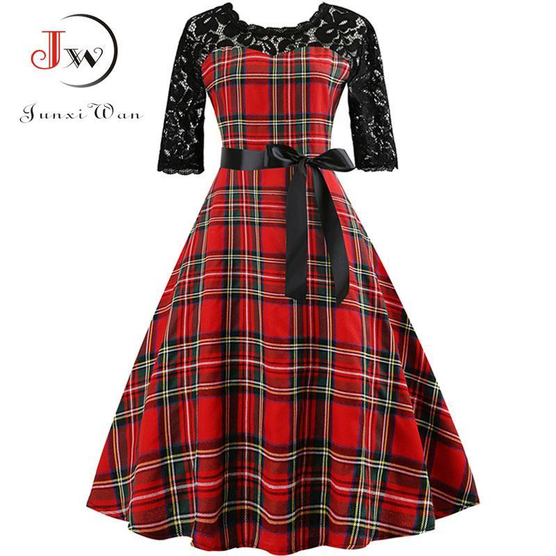 464891c4a2d 2019 Autumn Lace Retro Vintage Dress Slim Plaid Print Casual Elegant Party Dresses  Christmas Bodycon Dress Plus Size Vestidos Y190117 From Jinmei03, ...