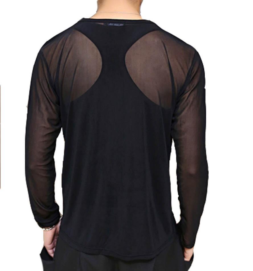 c574641bf Sexy Men Mesh Long Sleeve Shirts Casual Tee Underwear Undershirt ...