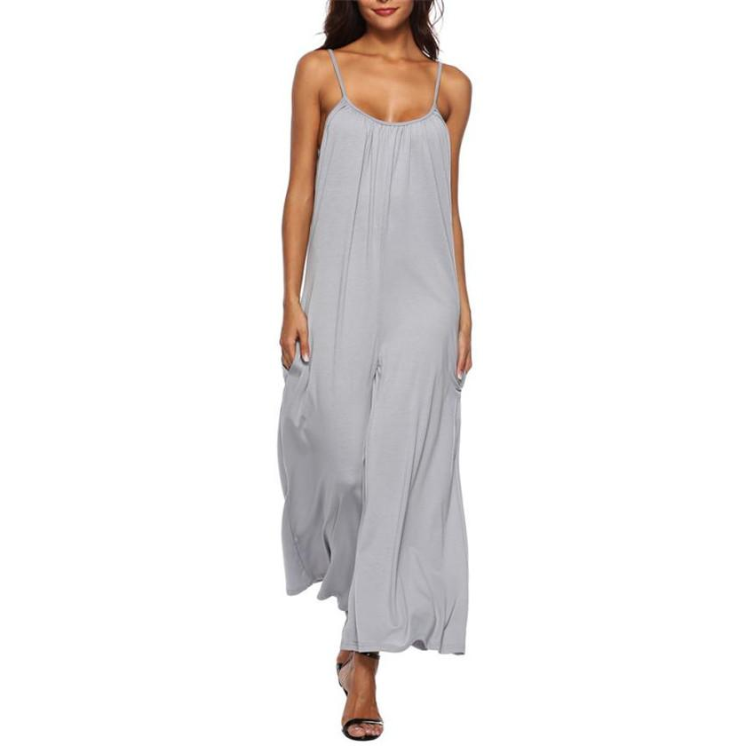 sleeveless long rompers womens jumpsuit solid loose overalls for women monos de verano para mujer 2018 S8717 dropship