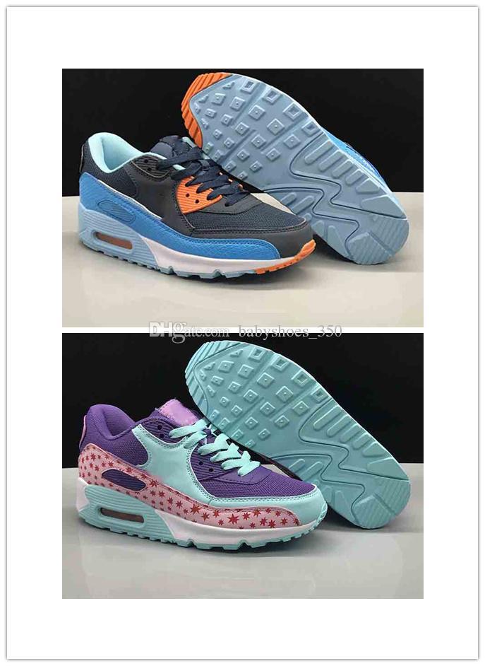 buy online 592fa 14d10 Acheter Nike Air Max 90 Sneakers Chaussures Classic 90 Hommes Femmes  Enfants Enfants Chaussures De Course Noir Rouge Blanc Sport Trainer Air  Cushion Surface ...