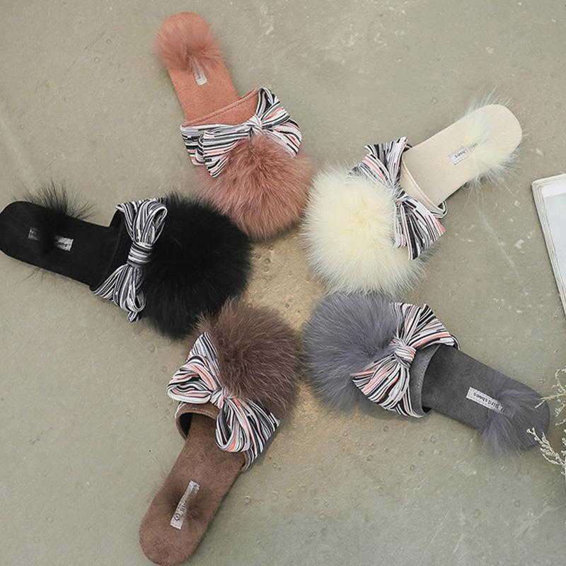 7c8dd9d7d11835 Woman Cute Fur Flip Flops Bow Knot PomPom Home Fur Slides Fox Hair Mules  Low Heels Flock Slippers Beige Outside Mules Wedge Shoes Flat Shoes From  Chingkee