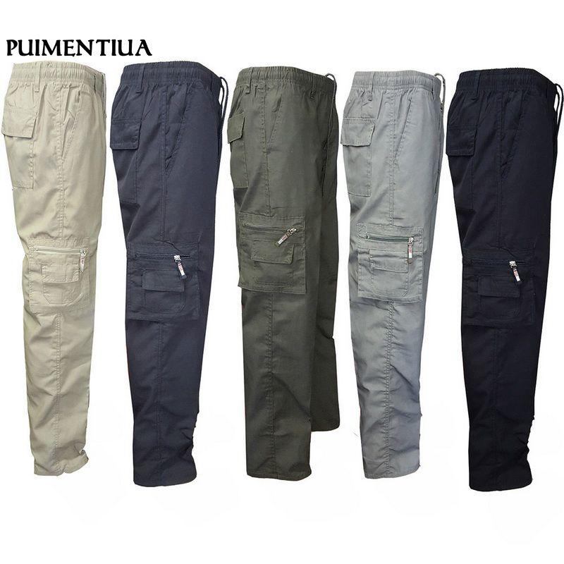 9c5e4b9d145 2019 Puimentiua Men Elastic Waist Drawstring Long Cargo Pants Zipper  Trousers Casual Cotton Tactical Baggy Pants From Clothfirst