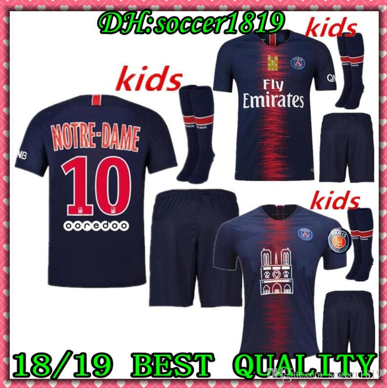 ba10a3f31 kids kit + sock 2019 PSG pay tribute to Notre Dame SOCCER JERSEYS HOME  MBAPPE 7 AWAY THIRD 18 19 20 football JERSEY