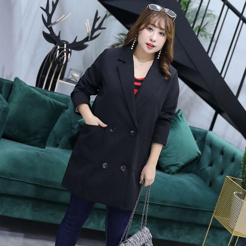 58c177f5a2 Compre Blusa De Otoño De Moda Nueva Versión Coreana De La Gran Talla De La  Mujer Mm200 Kg Fábrica De Tiro Real Traje Chaqueta 2976 Temperamento  Femenino A ...