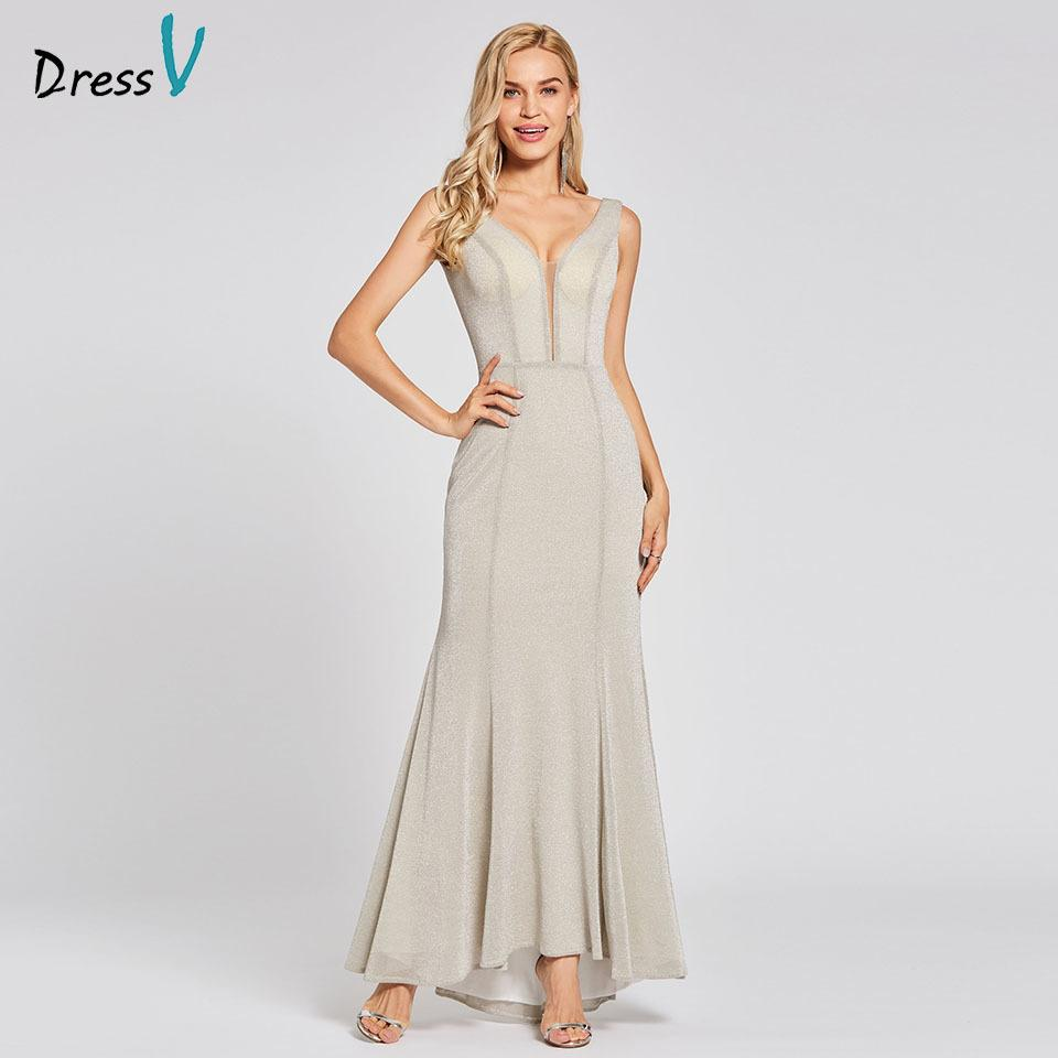 2019 Dressv Silver Long Trumpet Zipper Up Cheap V Neck Sweep Train Wedding  Party Formal Dress Mermaid Evening Dresses C18122201 From Linmei0006 0d9e90e54eca