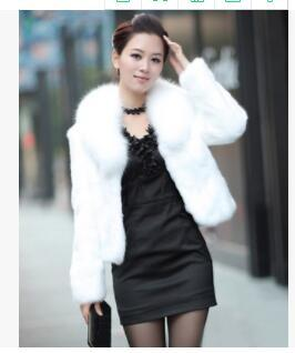 Winter Faux Fur Short Coat Black White Imitation Rabbit Fur Coat Jacket Outerwear Long Sleeve Slim Fashion