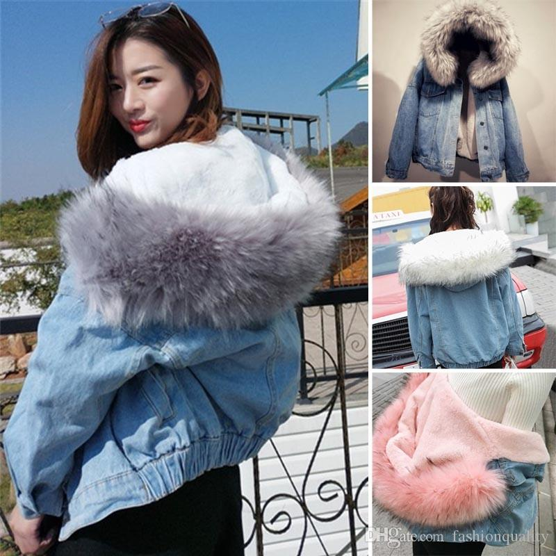 a59c34a7f9b3 New Hot Women Winter Warm Denim Jacket Faux Fur Collar Casual Denim Trucker Jacket  Coat Jackets Sale Black Leather Bomber Jacket From Fashionquality, ...
