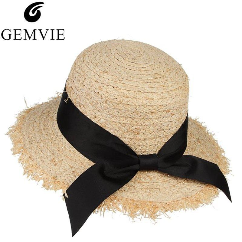 3e6eb8d2 GEMVIE Trendy Raffia Straw Hat For Women Summer Sun Hat Ladies Dome  Unsmooth Wide Brim Beach With Ribbon Bowknot Adjustable Summer Hats For  Women Bucket ...