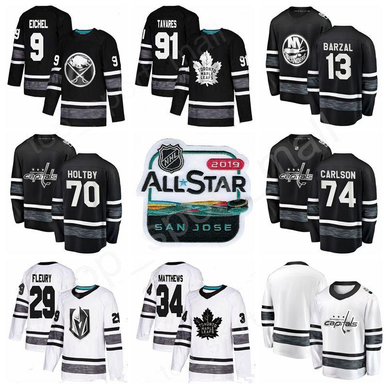 info for 4957e d44a6 2019 All Star Jersey Hockey Game 9 Jack Eichel 13 Mathew Barzal 34 Auston  Matthews 91 John Tavares 70 Braden Holtby John Carlson Black White