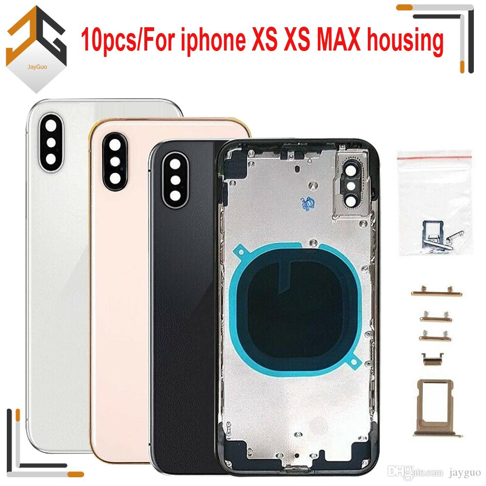 10PCS OEM Quality For iphone XS XS MAX Back Middle Frame Chassis Full Housing Assembly Battery Cover door