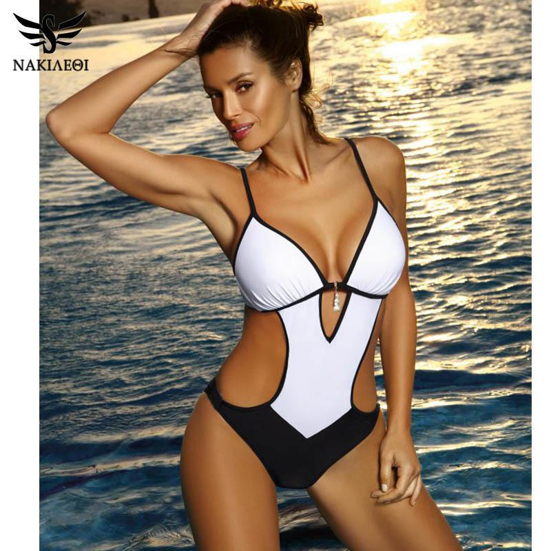 Nakiaeoi Sexy Thong One Piece Swimsuit Plus Size Swimwear Women Bathing Suit Swim Wear Monokini Beachwear Swimming S~xxl Q190524