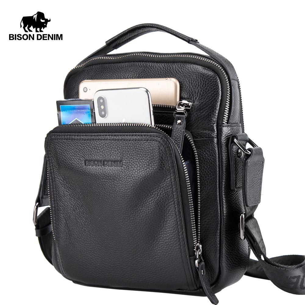 ddb0df273f Bison Denim Genuine Leather Men Bags Ipad Handbags Male Messenger Bag Man  Crossbody Shoulder Bag Men s Travel Bags N2333-1bs J190518