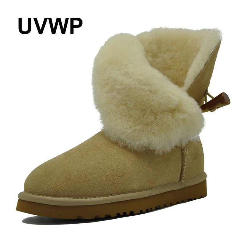 Acquista 2019 UVWP New Fashion Lady Shoes Stivali Da Neve In Vera Pelle  Impermeabile Di Alta Qualità Stivali Invernali In Pelliccia Naturale Stivali  ... 52eac75cffa