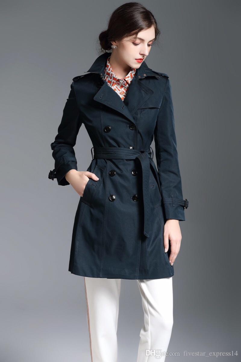 Sınırlı İngiltere Moda Uzun Trençkot Kadın Çift Breasted Kış Casual Ceket Blazer Bahar Londra Kuşaklı Coats Kabanlar Pembe