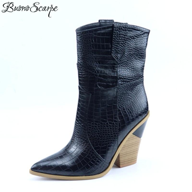 509624d5c9ca Acheter Bout Pointu Ouest Bottes De Cowboy De Mode Relief En Cuir PU  Chaussures En Cuir Cheville Bottes Pour Femmes Femmes Talons Hauts Coins  Piste De ...