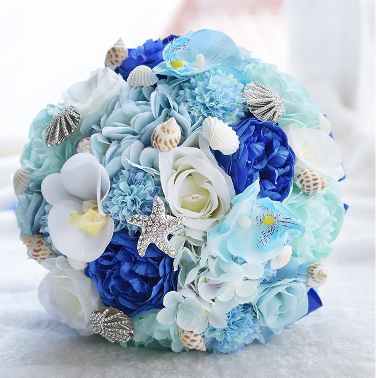 Light Blue Flowers For Weddings: Beach Wedding Bouquet Crystals Jewelry Shell Light Blue