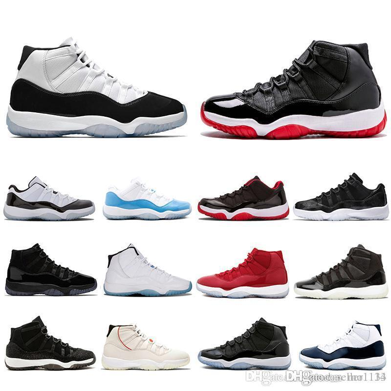 2019 XI 11s Bred 11 Concord Mens Basketball Shoes Platinum Tint Gym Red Cap and Gown PRM Heiress Women men sports Sneakers 36-47