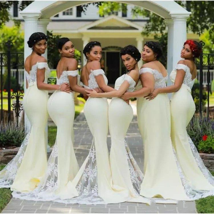 2019 New Mermaid Bridesmaid Dresses Off Shoulder Lace Appliques Cheap Guest  Dresses Maid Of The Honor Dresses Robes De Demoiselle D Honn Wedding Dresses  ... 979da9c280c3