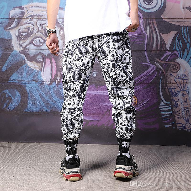 Spring 2019 New Hip-hop Punk Wind Dollar Bottom Pants Men's Rock Personality Sports Leisure Nine-cent Pant mens designer joggers