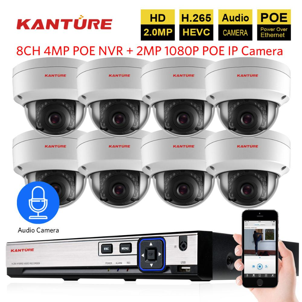 H 265 8CH 4MP POE CCTV NVR system 8X1080P Audio Record IP66 VandalProof  security In/Outdoor POE IP camera Video Surveillance Kit