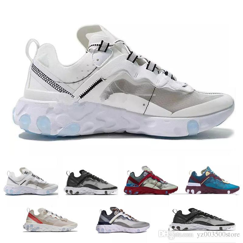 Epic React Element 87 Mens Running Shoes NEPTUNE GREENS Undercover Blue Sail Light Bone mens trainers Women designer Sports Sneakers 36 45