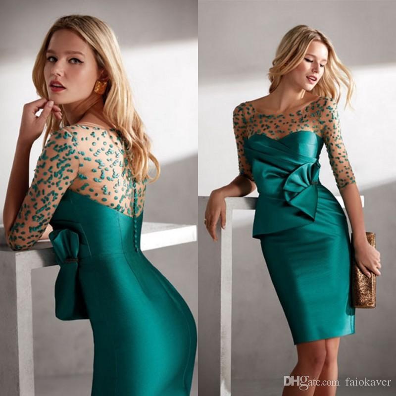 designer fashion be731 3596c 2019 Elegante verde madre della sposa abiti gioiello collo mezza manica  maniche lunghe abito da cerimonia nuziale abito da sera abiti da sera